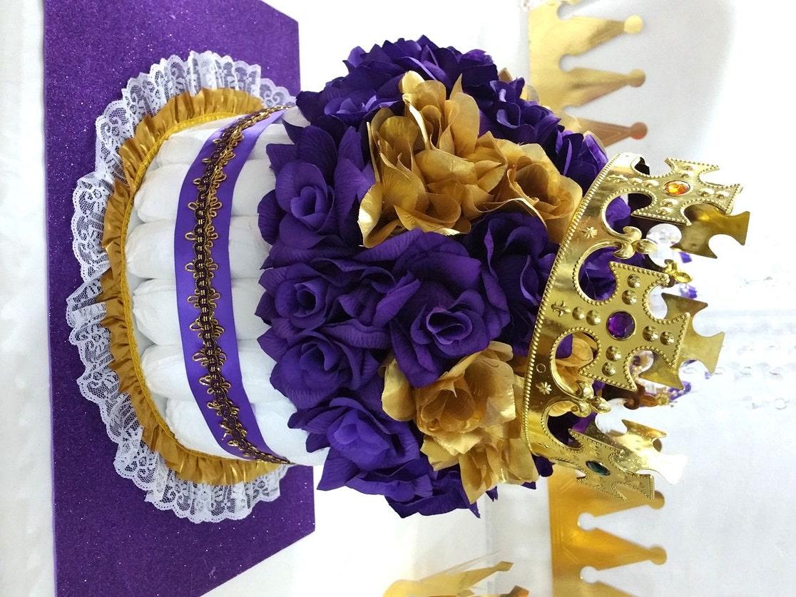 purple gold diaper cake centerpiece for princess baby shower. Black Bedroom Furniture Sets. Home Design Ideas