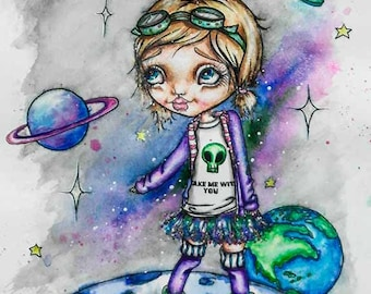 "Big Eye Art ""Moonwalker"" Watercolor Fine Art Reproduction Giclee Print Signed by Lizzy Love [IMG#175]"