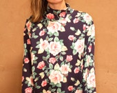 90s TWIN PEAKS floral GRUNGE long sleeve shirt mock turtleneck
