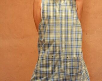 vintage GRUNGE mini plaid style dress slouchy boxy cut