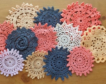 12 Small Orange and Black Hand Dyed Crochet Doilies, Halloween Colors Craft Doilies, 2 to 3.5 inch Doilies