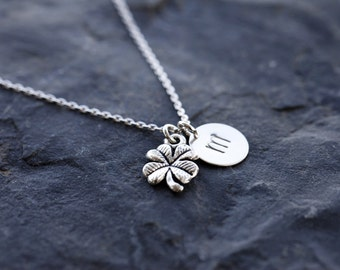Good Luck Initial Necklace, Four Leaf Clover Initial Necklace, Shamrock Monogram Necklace, Love Clover, Bridesmaids Shamrock Necklace