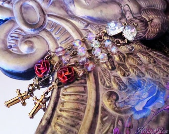 """4"""" Long Crystal Jewel Vintage Rosary Earrings, Antique Gothic Roses & Crosses, Religious Jewelry, Custom Painted Roses. Lightweight!"""