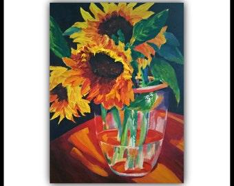 """Oil Painting """"SPLENDOR"""" Original Oil Painting, flowers, still life, vase, sunflowers, signed by the artist, art work, impasto"""