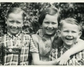 "Vintage Photo ""Shared Dimples"" Snapshot Photo Old Antique Photo Black & White Photograph Found Paper Ephemera Vernacular - 83"