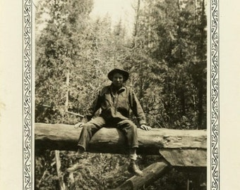 "Vintage Photo ""Resting Among Trees"" Snapshot Photo Old Antique Photo Black & White Photograph Found Photo Paper Ephemera Vernacular - 144"
