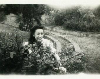 """Vintage Photo """"The Garden Smile"""" Snapshot Photo Old Antique Photo Black & White Photograph Found Photo Paper Ephemera Vernacular - 196"""