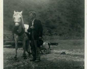 "Vintage Photo ""The Horse Whisperer"" Snapshot Photo Old Antique Photo Black & White Photograph Found Photo Paper Ephemera Vernacular - 196"