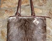 REDUCED - Roxy grufflebag, handmade shopper in goatskin and leather