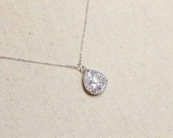 Cubic Zirconium Drop Necklace | Bridesmaid Jewelry | Diamond Pendant | Statement Necklace | Tear Drop | C.Z. Necklace | Mothers Day Gift