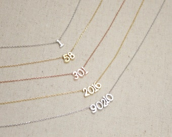 Lucky Number Necklace | Zip Code Necklace | Sports Team | Digit | Jersey Number | Anniversary Date | Birthday Gift | Year | Mothers Day Gift