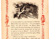 Through The Looking Glass Antique Book Page -  Cheshire Cat -  Vintage Alice in Wonderland decor, nursery art, 8 x 10 artwork print