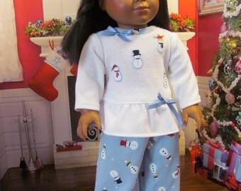 Doll  Pajamas,  Snowman Pajamas, Slippers,  Sleep Pants, Pajamas, 18 inch Doll Clothes