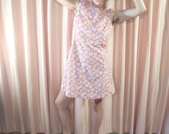 Pink Floral Shift Mini Dress, 60s