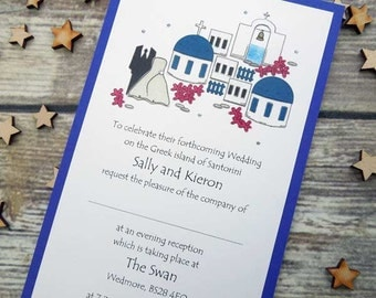 Santorini themed Evening/Party Invitations