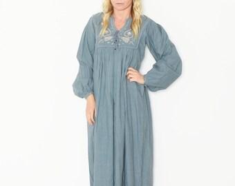 Vintage 70s India Cotton Dress , BOHO Hippie India Dress , Embroidered India Cotton Dress