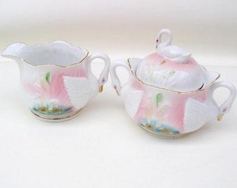 Vintage Swan Sugar and Creamer Set / Hand Painted Cream Pitcher Sugar Bowl / White Swans Pink Blue Japan
