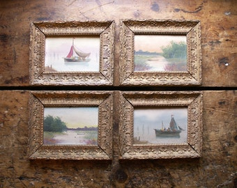 Set of Four Original French Paintings on Wood - Gold Framed Landscape and Water Scenes with Sailboats