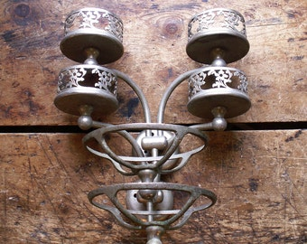 Pair of Vintage French Wall Mount Soap Dish and Cup Holders with Floral Border - Retro Bathroom Decor
