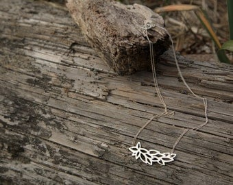 Horizontal Leafy Necklace w/ Custom Clasp in Sterling Silver