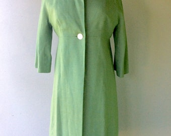 1960s SAGE Green Linen Top Coat