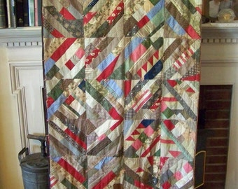 Small Crazy quilt; antique; multi-color; wall hanging or small bed
