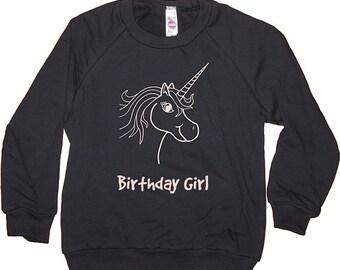 Birthday Shirt - Kids Sweatshirt Unicorn Birthday Girl Long Sleeved Navy Blue & Pink - Birthday - Fleece - 2T, 4T, 6, 8, 10, 12