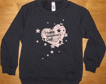 Heart Sweatshirt Happy Valentines Day - Long Sleeved Shirt - Boy or Girl - Navy Blue Fleece - Gift Friendly - Valentine Gift