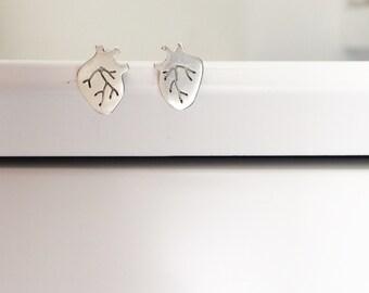 anatomical heart earrings heart earrings heart studs