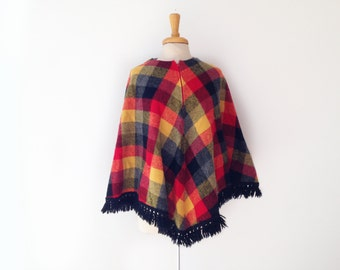 1960s vintage poncho/ cape in yellow black and red plaid