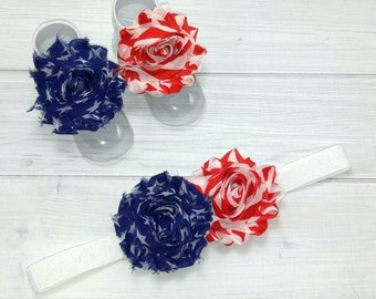 4th of July Barefoot Sandals - Fourth of July Barefoot Baby Sandals - Baby Barefoot Sandals - Baby Accessories - Toe Blooms