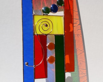 Stained glass abstract copper primary colors suncatcher window panel one of a kind READY TO SHIP