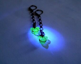 Long Earrings, Glows Under Black Light, Glow Earrings, Vaseline Bead Earrings