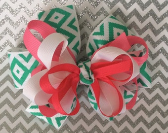 Large boutique hair bow with four layers of ribbon~ handmade