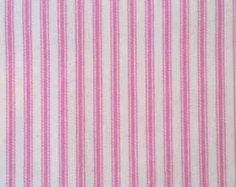 Ticking Fabric  | Pink Striped Ticking | Cotton Fabric