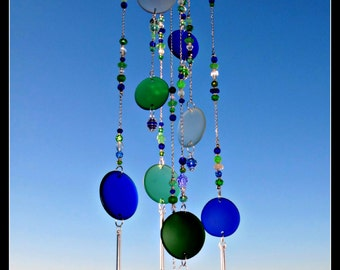 Beach Glass, Bottle Bottoms Wind Chime - Beaded Windchime Caged Marble beach glass sea glass wind chime