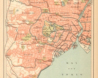 1895 Antique City Map of Tokyo