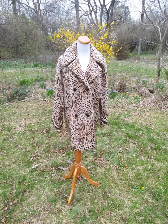 Vintage 60s Vegan Leopard Coat Fashioned by Juli de Roma / Anderson Newcomb / American Horror Story Sally Costume /