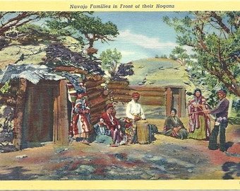 1930s Vintage Arizona Postcard Navajo Family
