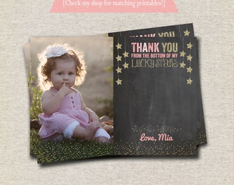 Twinkle Twinkle Little Star Thank You Card chalkboard pink gold  | Twinkle Twinkle Little Star First Birthday Party Printables