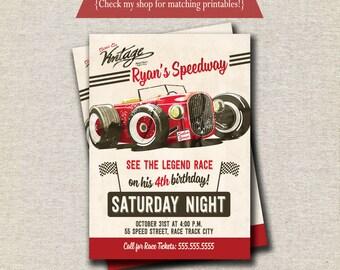 Race Car Invitation | Vintage Retro Race Car Invite | Race Car Birthday Party Printables | digital printable