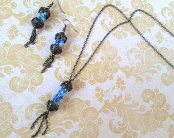 Blues and Bronze Necklace and Earrings