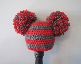 RTS Ohio State OSU baby crochet giant pom pom hat - 0-3 months size red and gray Buckeye