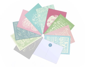 10 Quote Postcards - Alice in Wonderland,  Dr Seuss, Jane Austen, Sound of Music - Pastel Colour Postcard Pack - Typography by Chatty Nora