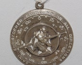 CUSTOM for LUCILIA Saint Christopher Guide me in all DIRECTIONS Compass Vintage Silver Religious Medal on 18 inch sterling silver rolo chain