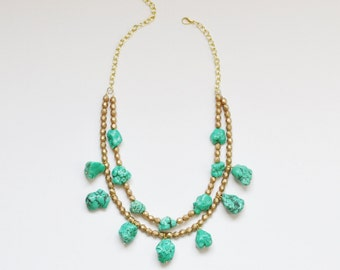 Green Turquoise and Gold Bohemian Statement Necklace