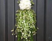 Spring Wreath Summer Wreath Teardrop Vertical Door Swag Decor White, Green, Lime Artificial Floral Swag Indoor/Outdoor Decoration Wispy Swag