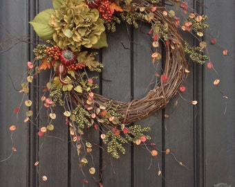 Fall Wreath-Thanksgiving Wreath-Halloween-Green Berry Branches-Wispy Twig Grapevine Door Wreath Decor-Green Hydrangea-Indoor/Outdoor Decor