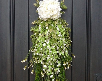 Spring Wreath Summer Wreath Teardrop Vertical Door Swag Decor White, Green, Lime Artificial Floral Swag Indoor/Outdoor Decoration Wispy Swag