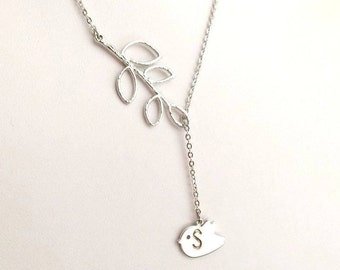 Personalized Neckclace, Initial Necklace, Name Necklace, Silver Bird Leaf Branch Necklace, Sterling Silver, Delicate, Dainty,Bridesmaid Gift